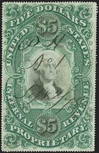 Sale Number 1139, Lot Number 128, Revenues$5.00 Green & Black on Violet Paper, Proprietary (RB10a), $5.00 Green & Black on Violet Paper, Proprietary (RB10a)
