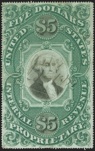 Sale Number 1139, Lot Number 129, Revenues$5.00 Green & Black on Violet Paper, Proprietary (RB10a), $5.00 Green & Black on Violet Paper, Proprietary (RB10a)