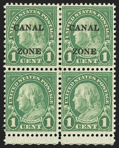 Sale Number 1139, Lot Number 130, Canal ZoneCANAL ZONE, 1927, 1c Green, Vertical Pair, One Without Ovpt. (100a), CANAL ZONE, 1927, 1c Green, Vertical Pair, One Without Ovpt. (100a)