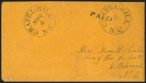 Sale Number 1139, Lot Number 155, Confederate StatesChapel Hill N.C., 5c Black entire (15XU1), Chapel Hill N.C., 5c Black entire (15XU1)