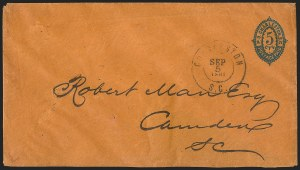 Sale Number 1139, Lot Number 156, Confederate StatesCharleston S.C., 5c Blue on Orange entire (16XU3), Charleston S.C., 5c Blue on Orange entire (16XU3)