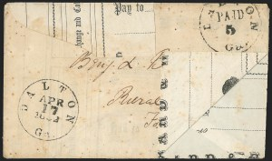 Sale Number 1139, Lot Number 159, Confederate StatesDalton Ga., 5c Black Entire (20XU1), Dalton Ga., 5c Black Entire (20XU1)
