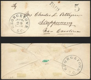 Sale Number 1139, Lot Number 164, Confederate StatesGeorgetown S.C., 5c Black entire (28XU2), Georgetown S.C., 5c Black entire (28XU2)