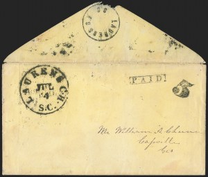 Sale Number 1139, Lot Number 166, Confederate StatesLaurens Court House S.C., 5c Black entire (116XU1), Laurens Court House S.C., 5c Black entire (116XU1)