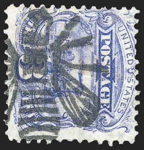 Sale Number 1139, Lot Number 17, Fancy Cancellations3c Ultramarine (114), 3c Ultramarine (114)