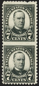 Sale Number 1140, Lot Number 1001, 1925 and Later Issues (Scott 620-734a)7c Black, Vertical Pair, Imperforate Between (639a), 7c Black, Vertical Pair, Imperforate Between (639a)