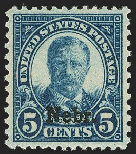 Sale Number 1140, Lot Number 1010, 1925 and Later Issues (Scott 620-734a)5c Nebr. Ovpt. (674), 5c Nebr. Ovpt. (674)