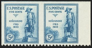 Sale Number 1140, Lot Number 1015, 1925 and Later Issues (Scott 620-734a)5c Kosciuszko, Horizontal Pair, Imperforate Vertically (734a), 5c Kosciuszko, Horizontal Pair, Imperforate Vertically (734a)