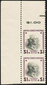 Sale Number 1140, Lot Number 1018, Presidential Issue and Later Issues (Scott 832-4806)$1.00 Presidential, 1938 Printing, Vertical Pair, Imperforate Horizontally (832a), $1.00 Presidential, 1938 Printing, Vertical Pair, Imperforate Horizontally (832a)
