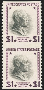 Sale Number 1140, Lot Number 1019, Presidential Issue and Later Issues (Scott 832-4806)$1.00 Presidential, 1938 Printing, Vertical Pair, Imperforate Horizontally (832a), $1.00 Presidential, 1938 Printing, Vertical Pair, Imperforate Horizontally (832a)