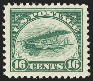 Sale Number 1140, Lot Number 1037, Air Post (C1-C12)16c Green, 1918 Air Post (C2), 16c Green, 1918 Air Post (C2)