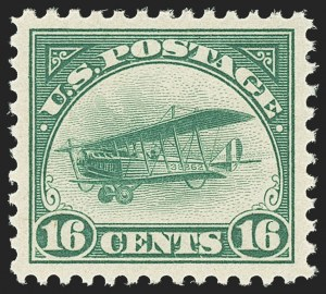 Sale Number 1140, Lot Number 1038, Air Post (C1-C12)16c Green, 1918 Air Post (C2), 16c Green, 1918 Air Post (C2)