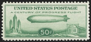 Sale Number 1140, Lot Number 1090, Air Post, cont. (C13-C23a)50c Chicago Zeppelin (C18), 50c Chicago Zeppelin (C18)