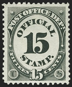 Sale Number 1140, Lot Number 1167, Officials, Agriculture thru Post Office15c Post Office (O53), 15c Post Office (O53)