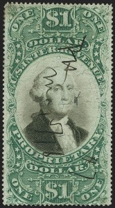 Sale Number 1140, Lot Number 1349, Revenues$1.00 Green & Black on Violet Paper, Proprietary (RB9a), $1.00 Green & Black on Violet Paper, Proprietary (RB9a)