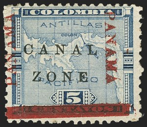 "Sale Number 1140, Lot Number 1486, U.S. Possessions, Canal ZoneCANAL ZONE, 1904, 5c Blue, ""Panama"" Inverted, Bar at Bottom (12e), CANAL ZONE, 1904, 5c Blue, ""Panama"" Inverted, Bar at Bottom (12e)"