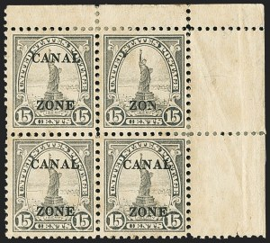 "Sale Number 1140, Lot Number 1491, U.S. Possessions, Canal ZoneCANAL ZONE, 1925, 15c Gray, ""Zone"" Only (90 var), CANAL ZONE, 1925, 15c Gray, ""Zone"" Only (90 var)"