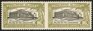 Sale Number 1140, Lot Number 1525, U.S. Possessions, Philippines, Collections and GroupsPHILIPPINES, 1926, 16c Olive Green & Black, Horizontal Pair, Imperforate Between (321a), PHILIPPINES, 1926, 16c Olive Green & Black, Horizontal Pair, Imperforate Between (321a)