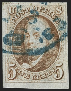Sale Number 1140, Lot Number 288, 1847 Issue (Scott 1-2)5c Red Brown (1), 5c Red Brown (1)