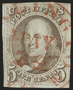 Sale Number 1140, Lot Number 290, 1847 Issue (Scott 1-2)5c Red Brown (1), 5c Red Brown (1)