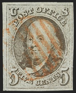 Sale Number 1140, Lot Number 293, 1847 Issue (Scott 1-2)5c Brown, Double Transfer Ty. B (1-B), 5c Brown, Double Transfer Ty. B (1-B)