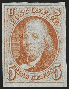 Sale Number 1140, Lot Number 295, 1847 Issue (Scott 1-2)5c Red Orange (1c), 5c Red Orange (1c)