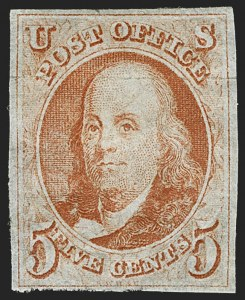 Sale Number 1140, Lot Number 296, 1847 Issue (Scott 1-2)5c Red Orange (1c), 5c Red Orange (1c)