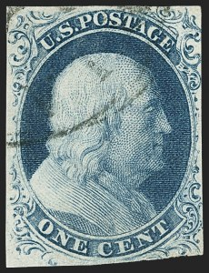 Sale Number 1140, Lot Number 318, 1851-56 Issue (Scott 5-17)1c Blue, Ty. III (8), 1c Blue, Ty. III (8)