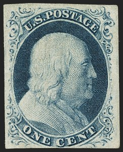Sale Number 1140, Lot Number 319, 1851-56 Issue (Scott 5-17)1c Blue, Ty. IIIa (8A), 1c Blue, Ty. IIIa (8A)