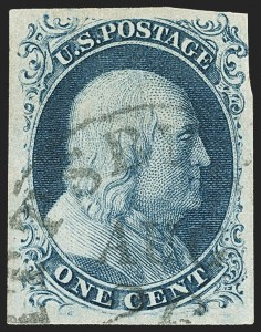 Sale Number 1140, Lot Number 321, 1851-56 Issue (Scott 5-17)1c Blue, Ty. IIIa (8A), 1c Blue, Ty. IIIa (8A)