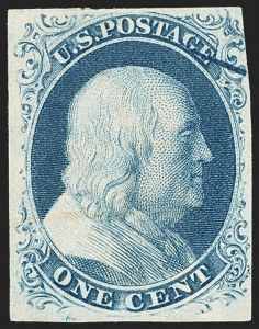 Sale Number 1140, Lot Number 323, 1851-56 Issue (Scott 5-17)1c Blue, Ty. IIIa (8A), 1c Blue, Ty. IIIa (8A)
