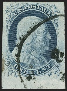 Sale Number 1140, Lot Number 324, 1851-56 Issue (Scott 5-17)1c Blue, Ty. IV (9), 1c Blue, Ty. IV (9)