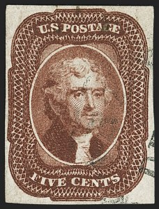 Sale Number 1140, Lot Number 332, 1851-56 Issue (Scott 5-17)5c Red Brown (12), 5c Red Brown (12)