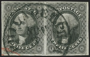 Sale Number 1140, Lot Number 344, 1851-56 Issue (Scott 5-17)12c Black (17), 12c Black (17)