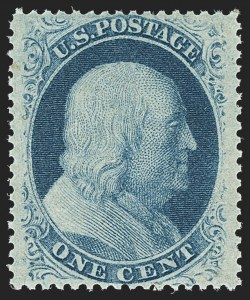 Sale Number 1140, Lot Number 361, 1c-3c 1857-60 Issue (Scott 18-26A)1c Blue, Ty. V (24). Mint N.H, 1c Blue, Ty. V (24). Mint N.H