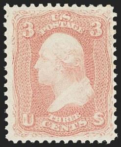 Sale Number 1140, Lot Number 416, 1861-66 Issue (Scott 62B-78)3c Rose Pink (64b). Mint N.H, 3c Rose Pink (64b). Mint N.H