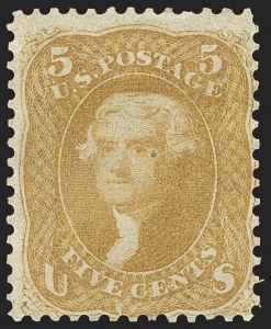 Sale Number 1140, Lot Number 421, 1861-66 Issue (Scott 62B-78)5c Brown Yellow (67a), 5c Brown Yellow (67a)