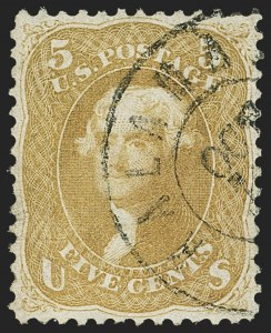 Sale Number 1140, Lot Number 422, 1861-66 Issue (Scott 62B-78)5c Brown Yellow (67a), 5c Brown Yellow (67a)