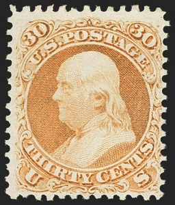 Sale Number 1140, Lot Number 426, 1861-66 Issue (Scott 62B-78)30c Orange (71), 30c Orange (71)