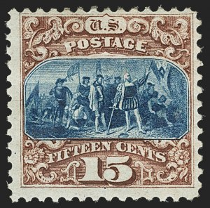 Sale Number 1140, Lot Number 509, 1875 Re-Issue of 1869 Pictorial Issue (Scott 123-133a)15c Brown & Blue, Re-Issue (129), 15c Brown & Blue, Re-Issue (129)