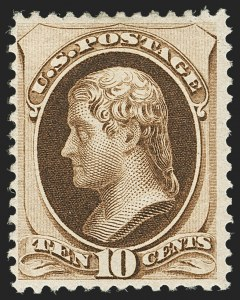 Sale Number 1140, Lot Number 557, 1879-88 American Bank Note Co. Issues (Scott 182-218)10c Brown, Without Secret Mark (187), 10c Brown, Without Secret Mark (187)