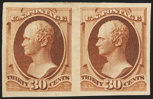 Sale Number 1140, Lot Number 575, 1879-88 American Bank Note Co. Issues (Scott 182-218)30c Orange Brown, Imperforate (217a), 30c Orange Brown, Imperforate (217a)