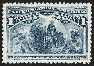 Sale Number 1140, Lot Number 591, 1c-50c 1893 Columbian Issue (Scott 230-240)1c Columbian (230), 1c Columbian (230)