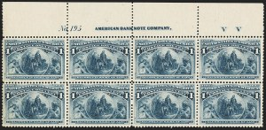 Sale Number 1140, Lot Number 593, 1c-50c 1893 Columbian Issue (Scott 230-240)1c Columbian (230), 1c Columbian (230)
