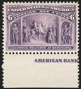 Sale Number 1140, Lot Number 605, 1c-50c 1893 Columbian Issue (Scott 230-240)6c Red Violet, Columbian (235a), 6c Red Violet, Columbian (235a)
