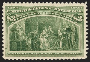 Sale Number 1140, Lot Number 622, $1.00-$5.00 1893 Columbian Issue (Scott 241-245)$3.00 Olive Green, Columbian (243a), $3.00 Olive Green, Columbian (243a)