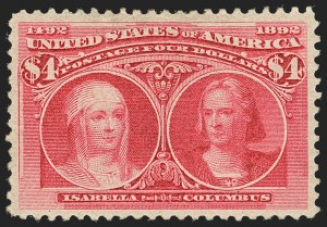 Sale Number 1140, Lot Number 627, $1.00-$5.00 1893 Columbian Issue (Scott 241-245)$4.00 Columbian (244), $4.00 Columbian (244)