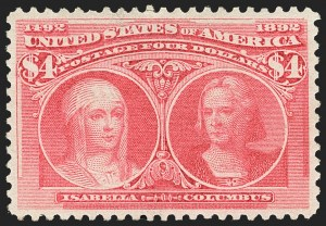 Sale Number 1140, Lot Number 631, $1.00-$5.00 1893 Columbian Issue (Scott 241-245)$4.00 Rose Carmine, Columbian (244a), $4.00 Rose Carmine, Columbian (244a)