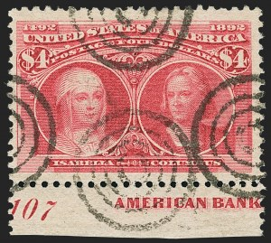 Sale Number 1140, Lot Number 632, $1.00-$5.00 1893 Columbian Issue (Scott 241-245)$4.00 Columbian (244), $4.00 Columbian (244)