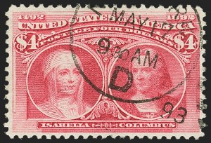Sale Number 1140, Lot Number 634, $1.00-$5.00 1893 Columbian Issue (Scott 241-245)$4.00 Columbian (244), $4.00 Columbian (244)